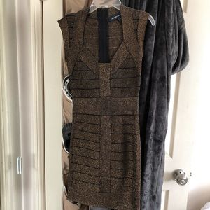 French connection bandage black and gold dress